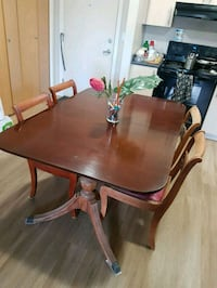 (READ) Antique cherry wood table 4/5 chairs  Calgary, T3J 3C4
