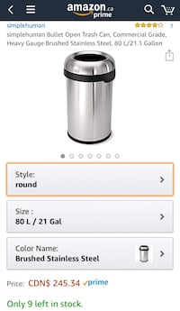 simplehuman Bullet Open Trash Can, Commercial Grade, Heavy Gauge Brushed Stainless Steel, 80 L/21.1 Gallon Mississauga, L5J 1N8