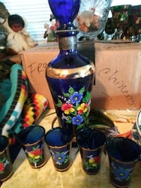 Blue flower bottle and cups  Worcester, 01605