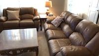 brown leather 3-seat sofa and loveseat Gainesville, 20155