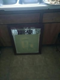Decate pub mirror with black frame