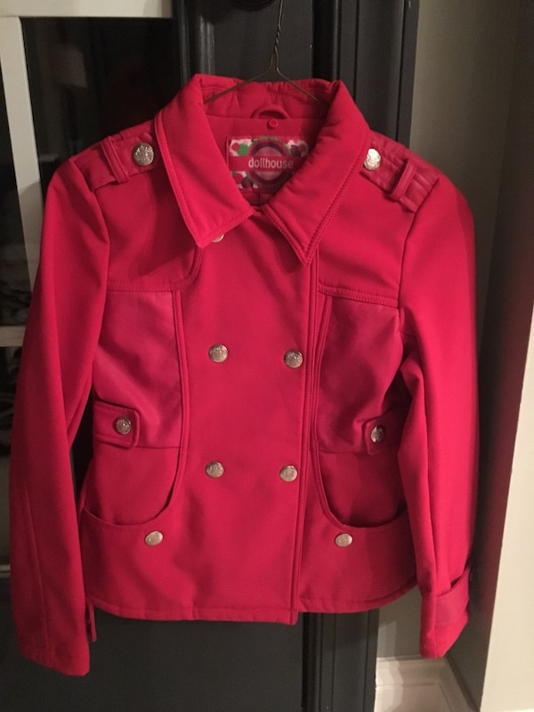 Girls size 14 coat with partial faux leather