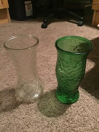 two green and gray tinted glass vases Calgary, T2Z 0P8