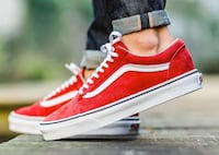 pair of red-and-white Vans authentic low-top sneakers Faridabad, 121004
