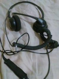 black and gray corded headset 374 mi