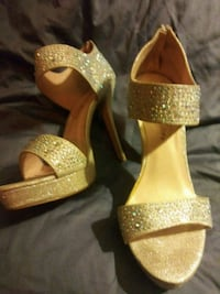pair of gold open toe ankle strap heels Albuquerque, 87123