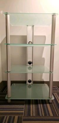 Frosted Tempered Glass 4 Shelf Media Stand Staten Island, 10301
