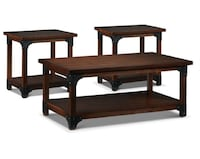brown wooden 2-tier coffee table set
