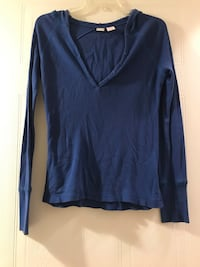Blue long sleeve top with hood- size: S