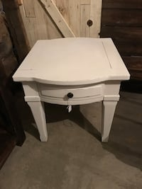 white wooden single-drawer side table Linden, 22643