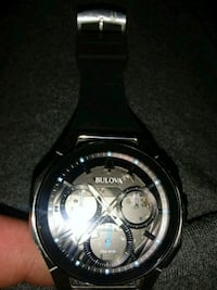 Bad ass buluvahronograph watch with black leather  37 km