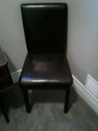 2 dark exspresso faux leather parson chairs 50.00@ Kitchener, N2K 4J7