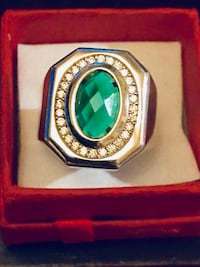 Brand New Mens Sterling Silver Ring! 1 TCW Marquis Emerald and .50 TCW Natural White Sapphires! Sz 10! $85 OBO  De Witt, 13214