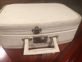Vintage small white suitcase