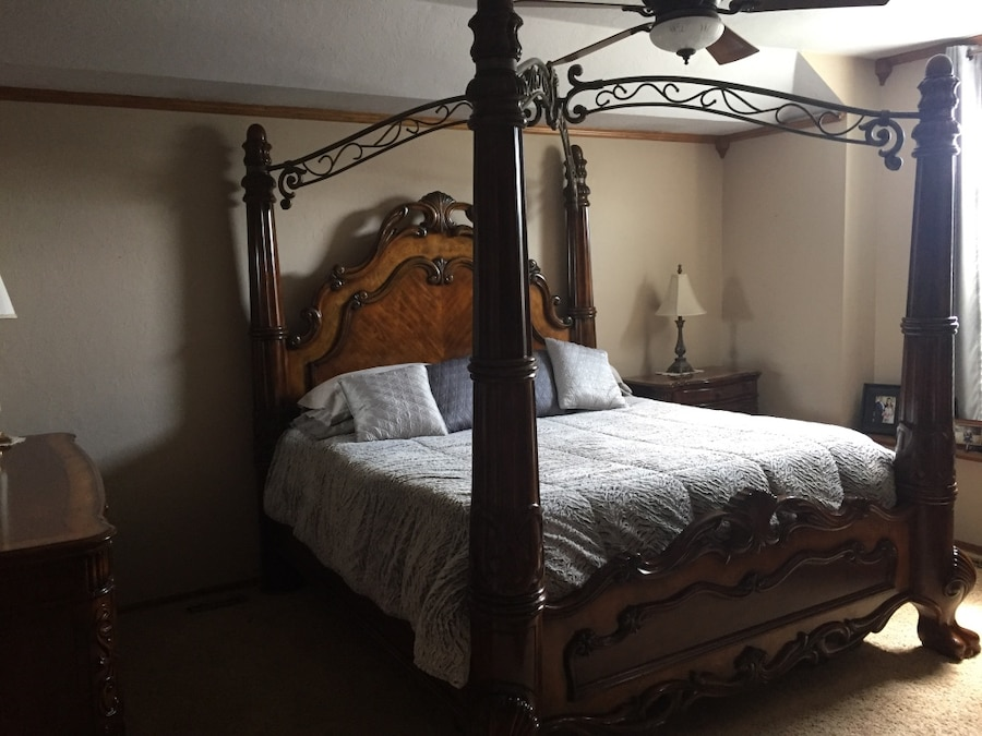 Used Ornate Bedroom Suite; King size canopy bed armoire triple dresser chest of drawers and nightstands for sale in Oklahoma City & Used Ornate Bedroom Suite; King size canopy bed armoire triple ...