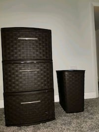 Plastic 3-drawer container and waste bin