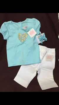NWT Janie And Jack 2pc Set Mint Green Shirt And Capris 6-12mo Gymboree Hair Barrette  Raleigh, 27610
