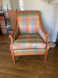 Brown wooden framed green and white plaid padded armchair Vienna, 22182