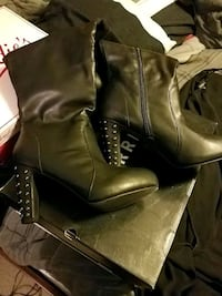pair of brown leather heeled boots North Richland Hills, 76180