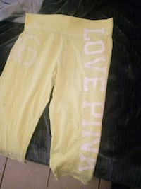 yellow and white Love Pink printed Victoria's Secret pants