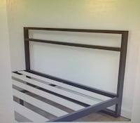 white and black wooden bed frame San Antonio, 78209