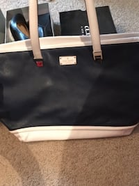Navy and white leather Kate Spade tote bag