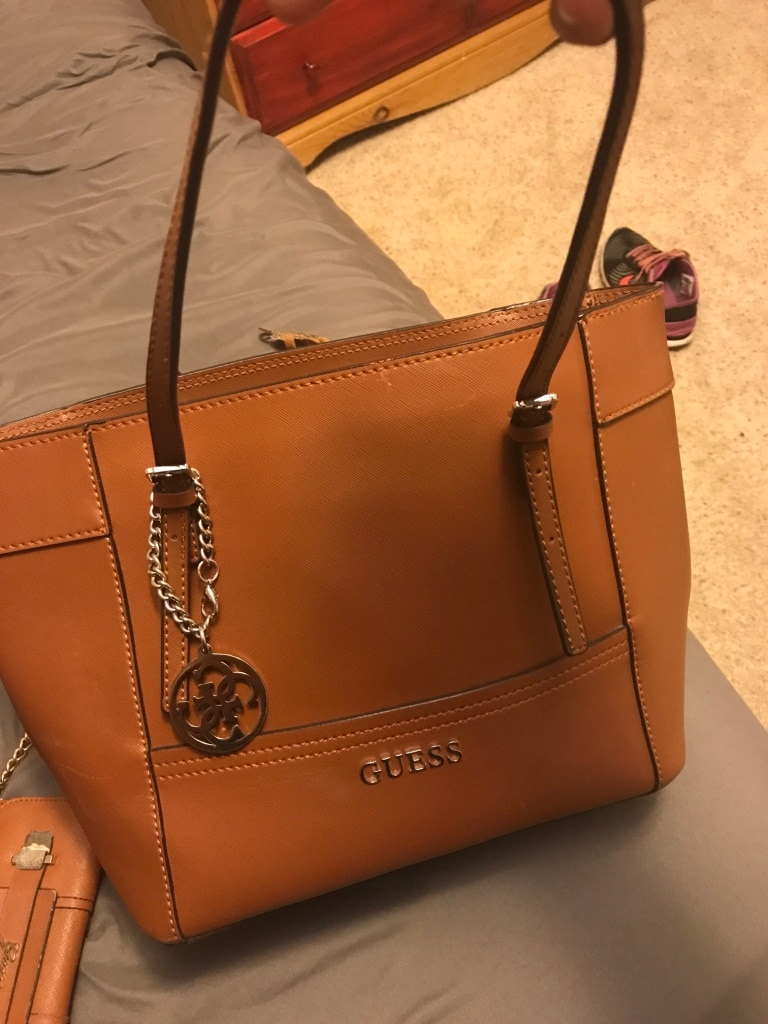 Women's brown Guess leather tote bag
