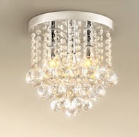 "Crystal Chandelier, 3 Lights, 11"" W, 10"" H,Silver Surrey, V3V 5X2"