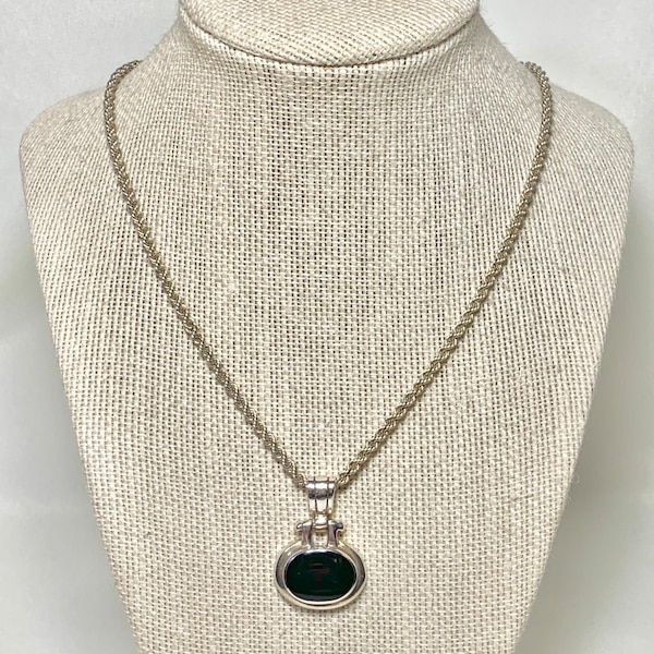 Vintage Sterling Silver Black Onyx Pendant with Sterling Rope Chain 65647f3f-9e4a-481e-a346-eb92d826bb70