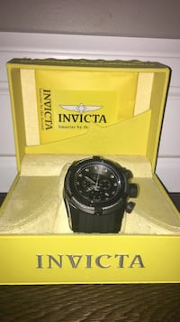 Round black invicta chronograph watch with black strap Vaughan, L4H 2R1