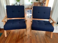 two blue fabric sofa chairs 41 km