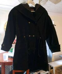 Hooded Suede Leather Parka CoatSmall Stafford, 22554