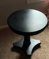 Round Black Wooden End Table