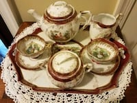 Antique tea pot and cup set Burke