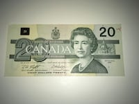 $20 Dollar Bill Canadian 1991 Excellent Condition Red Pen Mark