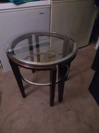 round black wooden framed glass top table Columbus, 43228