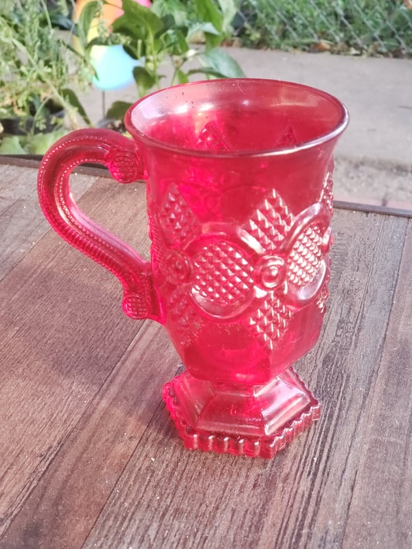 Vintage Ruby Red Depression Glass Chalice  0