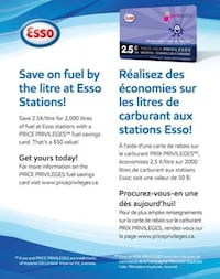 ESSO Price Privileges Fuel Savings Card Saves 2.5 Cents/Litre on 2000L Vaughan, L4H 2A5