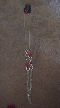 silver-colored necklace with red gemstone pendant Carmel, 46032