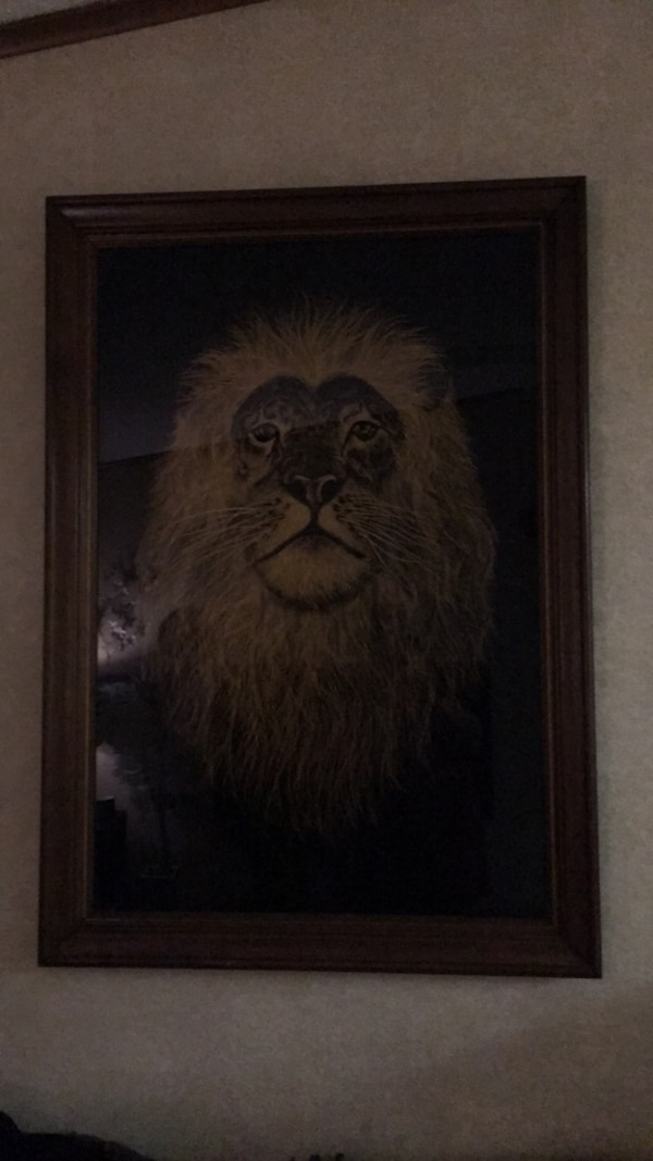 brown wooden framed painting of lion