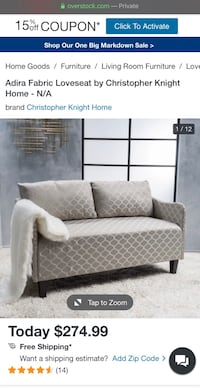 **NEGOTIABLE** Adira Fabric Love Seat Like New Germantown, 20874