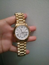 round gold-colored analog watch with link bracelet Kensington, 20895
