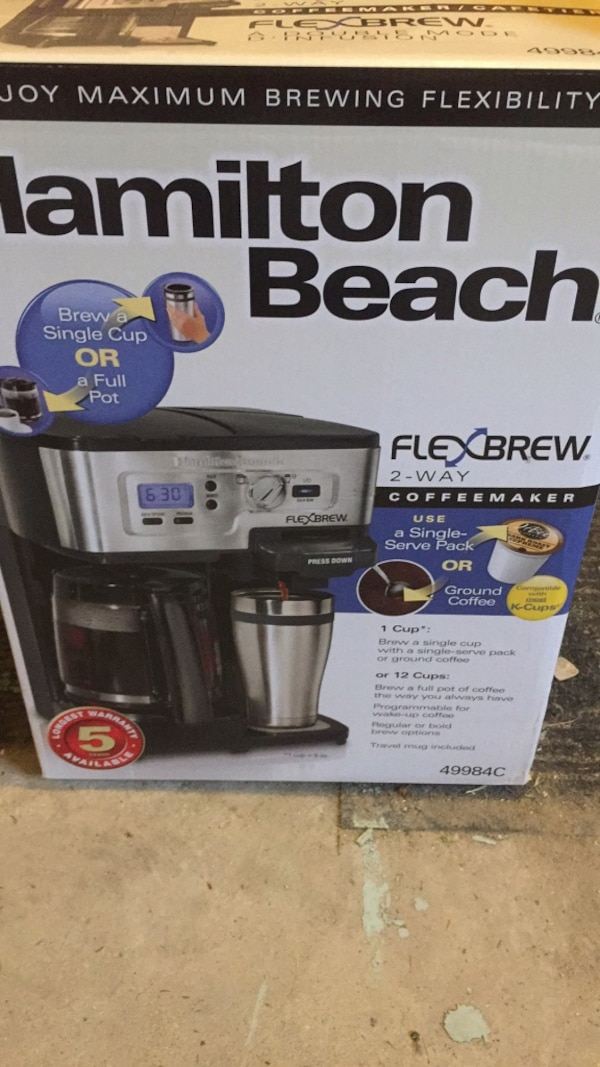 Used Hamilton Beach New Coffee Maker With Single Serve Option For