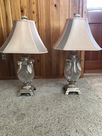 two clear glass base white shade table lamps Tampa, 33618