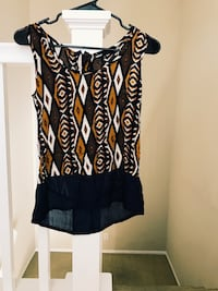 Black and brown sheer scoop neck top Ladera Ranch, 92694
