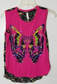 purple and black butterfly print tank top