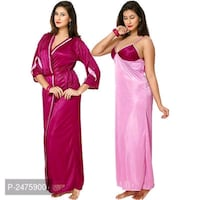 Satin nighty with roby Jaipur