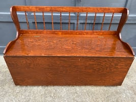 Pine storage bench, entryway storage made of solid pine wood