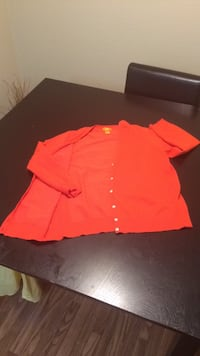 women's orange button up cardigan
