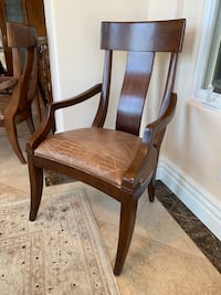 6 Brown wooden/leather frame brown padded armchair Carlsbad, 92011